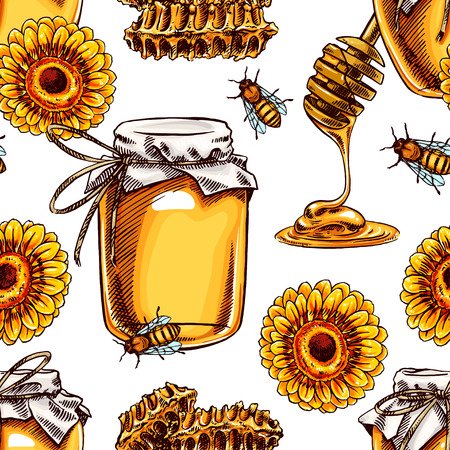 honey: seamless background with honey. jars of honey, bees, honeycomb. hand-drawn illustration