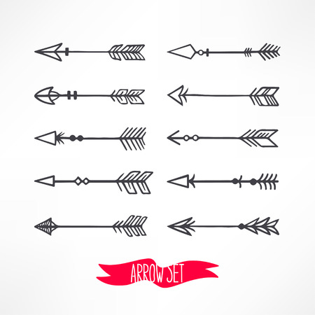 arrow: Cute set with arrows on a background. hand-drawn illustration