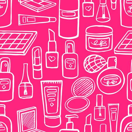 Fondo de color rosa transparente con una variedad de cosméticos y productos para el cuidado del cuerpo. ilustración de mano Foto de archivo - 39894172