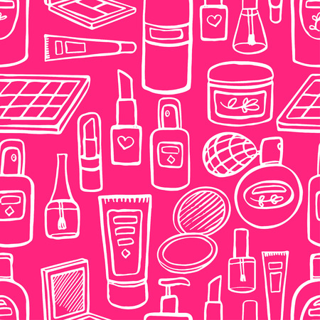 seamless pink background with a variety of cosmetics and products for body care. hand-drawn illustration Illustration