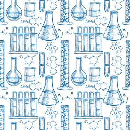 chemical equipment: seamless blue and white background with chemical equipment and formulas. hand-drawn illustration