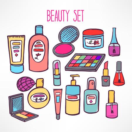 Conjunto con una variedad de cosméticos y productos para el cuidado del cuerpo. dibujado a mano ilustración - 2 Foto de archivo - 39927655