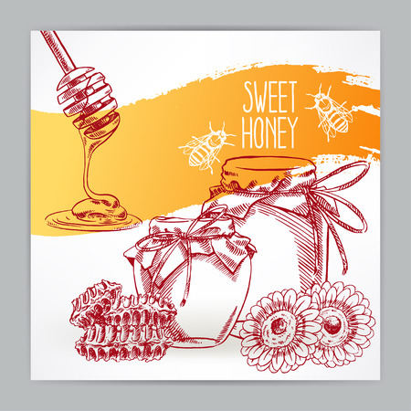 beautiful card with honey. jars of honey, bees, honeycomb. hand-drawn illustration - 2 Illustration