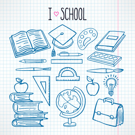 school illustration: cute set with sketch school supplies Illustration