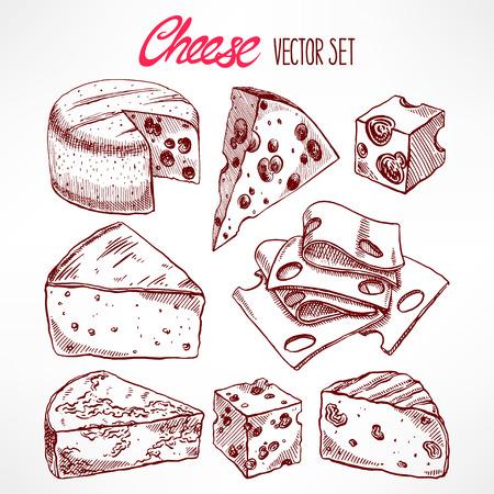 Set mit verschiedenen Skizze Käse. Hand gezeichnete Illustration Standard-Bild - 40154791