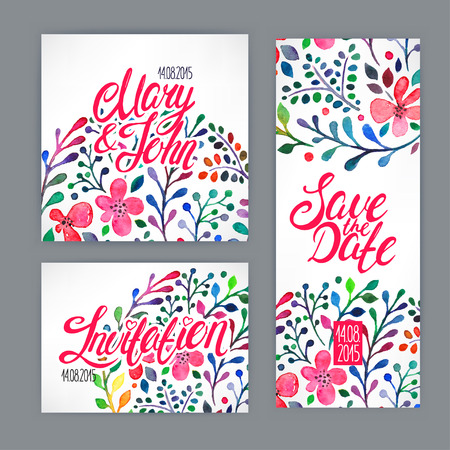 beautiful card with watercolor floral pattern. hand-drawn illustration 向量圖像