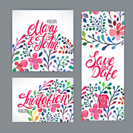 dattes: belle carte � l'aquarelle motif floral. illustration dessin�e � la main