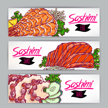 sashimi: Three banners with different kinds of sashimi. salmon, shrimp and octopus. hand-drawn illustration Illustration