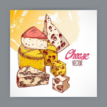 background with various appetizing cheeses. hand-drawn illustration Illustration