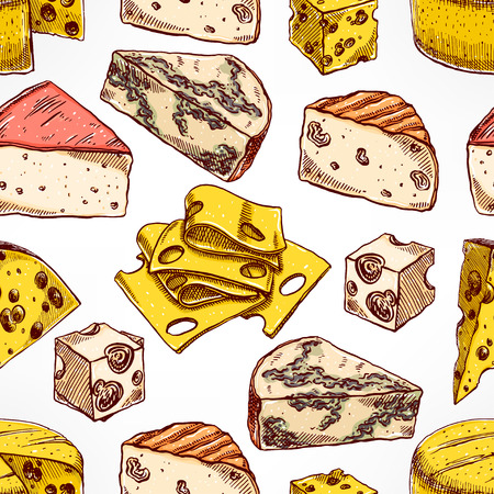 brie: Seamless background with various sketch cheeses. hand-drawn illustration