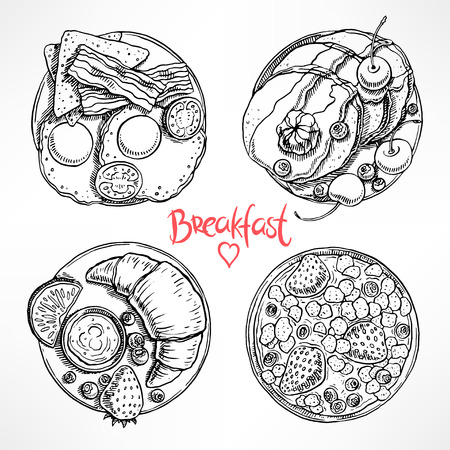 egg cups: set with four different types of breakfast. hand-drawn illustration Illustration