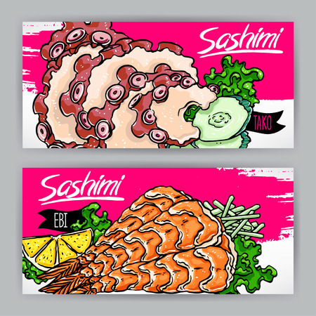 sashimi: Two banners with different kinds of sashimi. shrimp and octopus. hand-drawn illustration