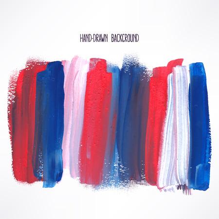 rojo: fondo con trazos azules y rojas. ilustración de mano