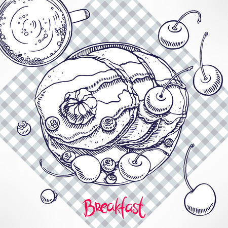 syrup: breakfast. pancakes with maple syrup and butter. hand-drawn illustration Illustration