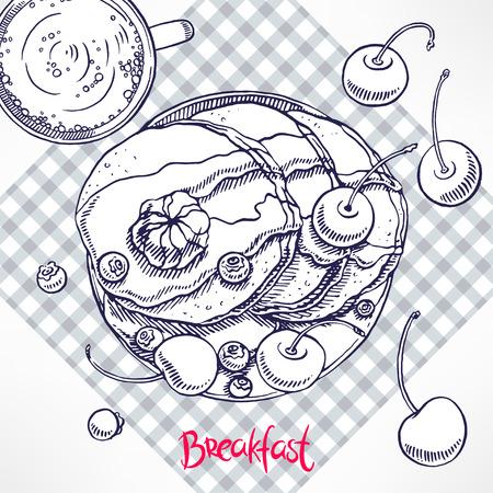 maple syrup: desayuno. panqueques con jarabe de arce y mantequilla. ilustraci�n de mano