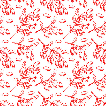 Cute seamless background with ripe goji berries and leaves. hand-drawn illustration