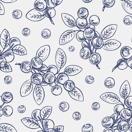 whortleberry: Beautiful seamless background with sketch sprigs of blueberry