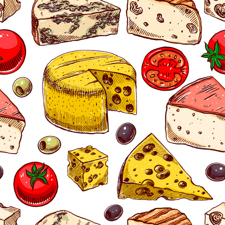 brie: Seamless background with various sketch cheeses, tomatoes and olives. hand-drawn illustration