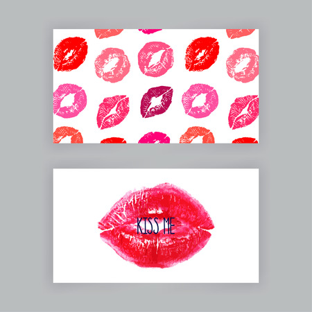 two business cards template with pink lips print