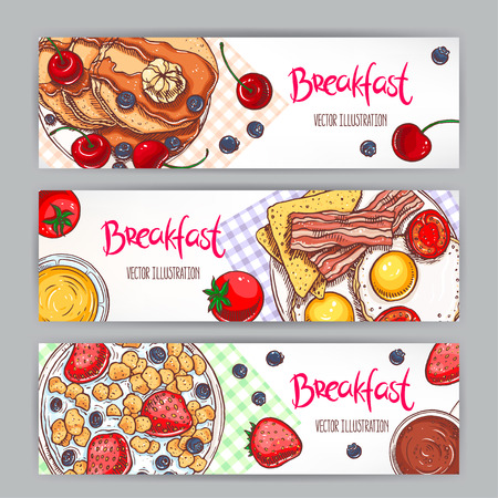 scrambled: set with three banners of different types of breakfast. hand-drawn illustration Illustration