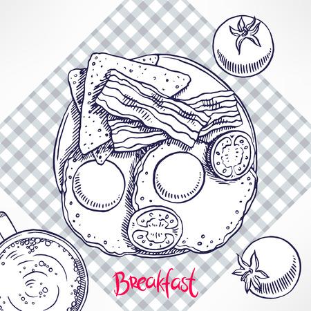 scrambled: breakfast. bacon, scrambled eggs, toast and tomatoes. hand-drawn illustration