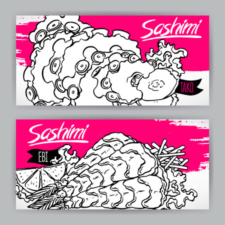 sashimi: Two banners with different kinds of sketch sashimi. shrimp and octopus. hand-drawn illustration