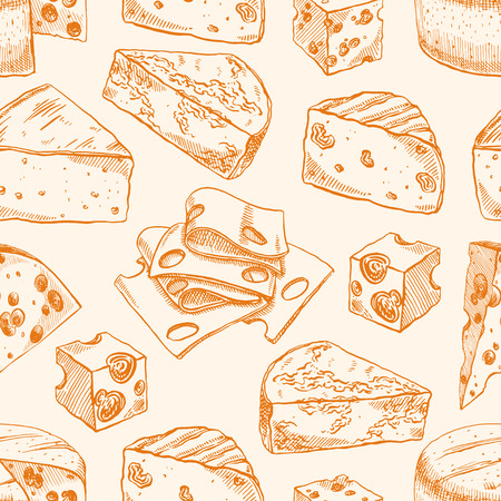 parmesan: Seamless background with various sketch cheeses. hand-drawn illustration