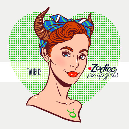 hair pins: Zodiac signs - Taurus as a girl in the style of pin-up. Hand-drawn illustration