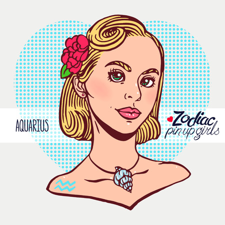 Zodiac signs - Aquarius as a girl in the style of pin-up. Hand-drawn illustration 向量圖像