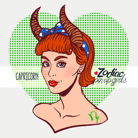 Zodiac signs - Capricorn as a girl in the style of pin-up. Hand-drawn illustration