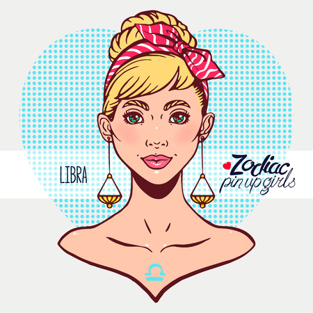 Zodiac signs - Libra as a girl in the style of pin-up. Hand-drawn illustration