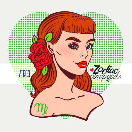 Zodiac signs - Virgo as a girl in the style of pin-up. Hand-drawn illustration 向量圖像