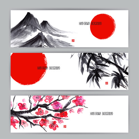 three beautiful banners with Japanese natural motifs. Sumi-e. hand-drawn illustration  イラスト・ベクター素材