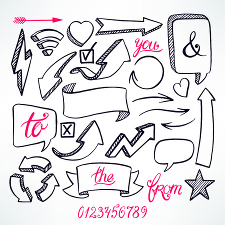 text bubble: vector set of hand-drawn arrows and bubbles icons on white background Illustration