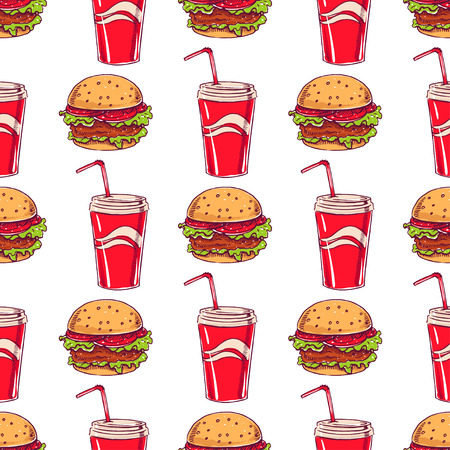 seamless background with appetizing burgers and drinks