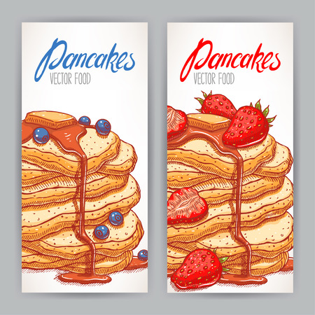 Two vertical banners with appetizing pancakes with a variety of berries and syrup. hand-drawn illustration