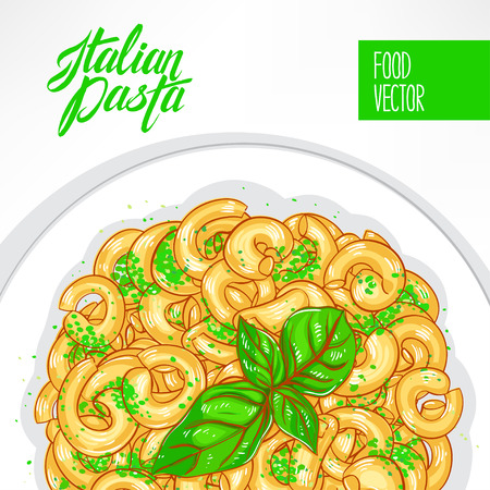 basil: background with a plate of pasta with basil on a white background