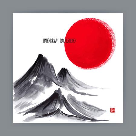 belle illustration avec des motifs naturels japonais. Sumi-e. illustration dessinée à la main