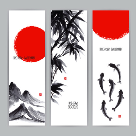 three beautiful banners with Japanese natural motifs. Sumi-e. hand-drawn illustration Vettoriali