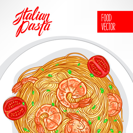 background with a plate of pasta with shrimps on a white background