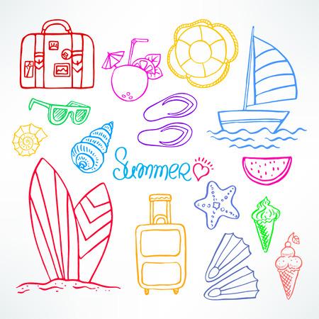 watermelon boat: Holiday. Set of summer symbols. Hand drawn illustration