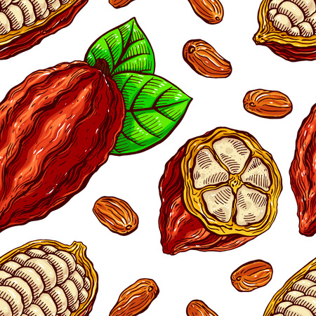 seamless background of cacao beans, fruit and leaves. hand-drawn illustration Vettoriali