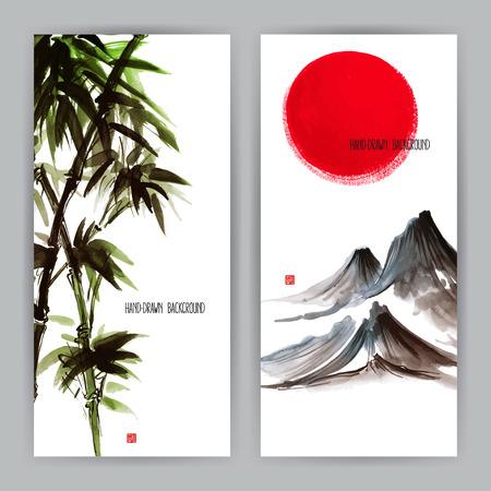 Dos hermosas pancartas con motivos naturales japoneses. Sumi-e. ilustración de mano Foto de archivo - 41618877
