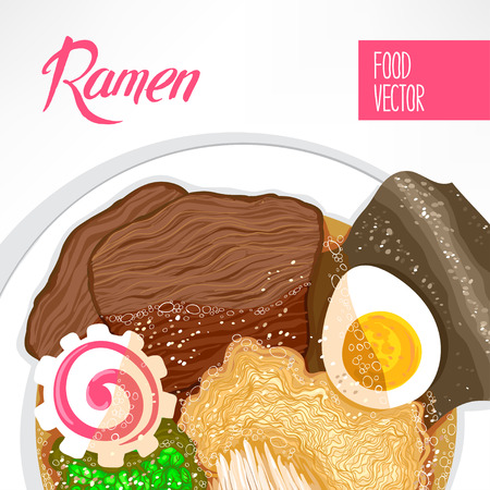 prepared dish: background of dish with prepared ramen and place for text