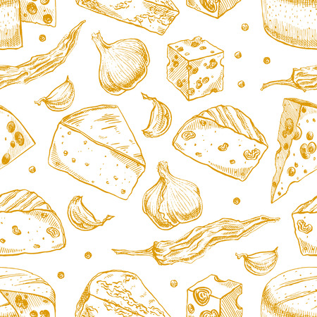 brie: Seamless background with various sketch cheeses, spices, garlic and pepper. hand-drawn illustration
