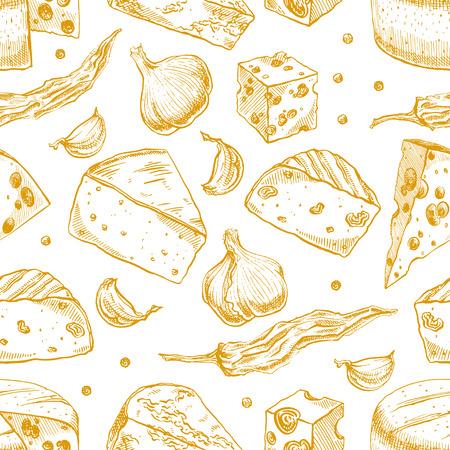 parmigiano: Sfondo trasparente con diverse abbozzo formaggi, spezie, aglio e pepe. illustrazione a mano