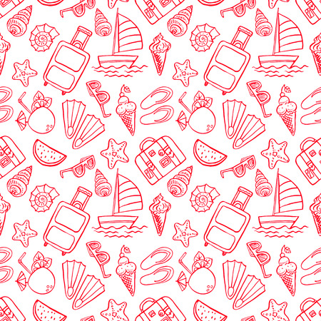 watermelon boat: Holiday. Seamless pattern with summer symbols. Hand drawn illustration