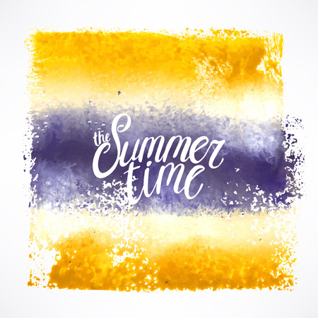 phrase: the summer time. colorful stroke background with hand-drawn phrase