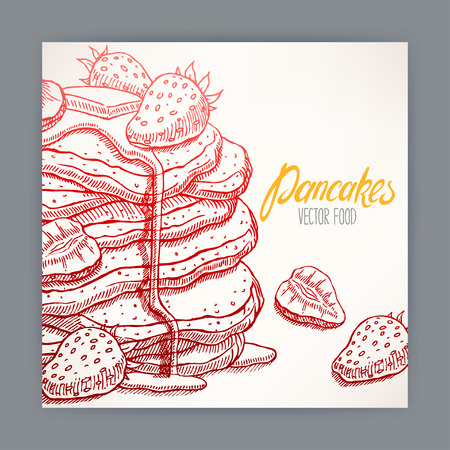syrup: cute card of appetizing pancakes with strawberry and syrup. hand-drawn illustration