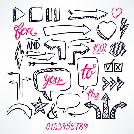 flecha: conjunto de vectores de flechas dibujadas a mano y burbujas iconos en el fondo blanco